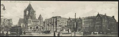 Landmarks Painting Royalty Free Images - Copley Square looking east, Boston, Mass. 1905 by Rotograph Company Royalty-Free Image by Celestial Images