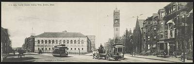 Landmarks Painting Royalty Free Images - Copley Square looking west, Boston, Mass. 1905 by Rotograph Company Royalty-Free Image by Celestial Images