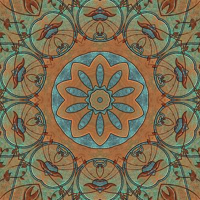 Digital Art - Copper Patina Kaleidoscope by Cindy Boyd
