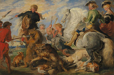 Painting - Copy After Rubens's Wolf And Fox Hunt by Edwin Landseer