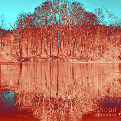 Digital Art - Coral Meditative Power Of Trees by Silva Wischeropp