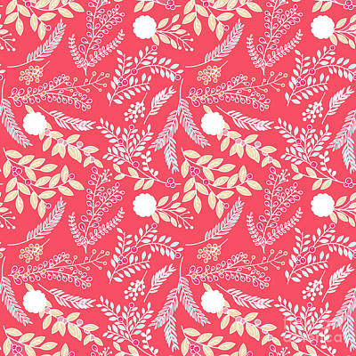 Digital Art - Coral Passion Floral Pattern by Sharon Mau