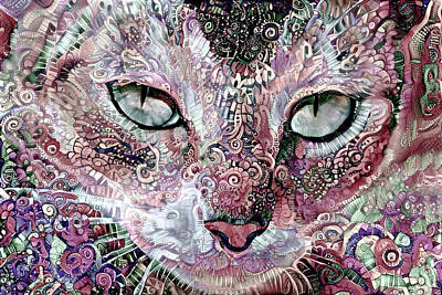 Digital Art - Coral The Abstract Cat by Peggy Collins
