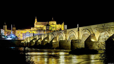 Photograph - Cordoba Mosque And Bridge At Night by Weston Westmoreland