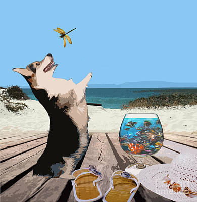 Digital Art - Corgi At The Beach by Kathy Kelly