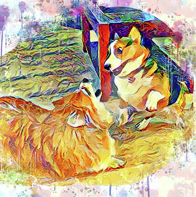 Digital Art - Corgi Playtime by Kathy Kelly