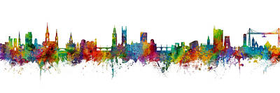 Digital Art - Cork And Newport Skyline Mashup by Michael Tompsett