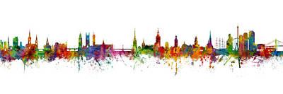 Digital Art - Cork, Stockholm And Gothenburg Skyline Mashup by Michael Tompsett