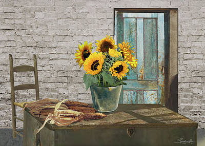 Digital Art - Corn Cobs And Sunflowers by M Spadecaller