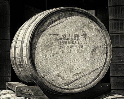 Photograph - Corn Whiskey Barrel Head In Black And White by Bill Swartwout Photography