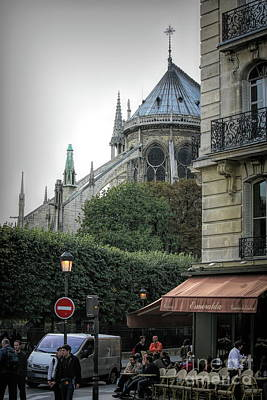 Photograph - Corner French Cafe Notre Dame Paris  by Chuck Kuhn