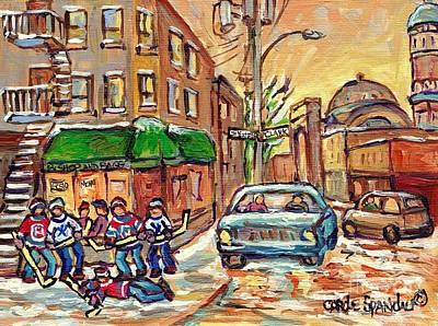 Painting - Corner St Viateur And Clark Montreal Winter Street Scene Hockey Art Bishop And Bagg Bistro C Spandau by Carole Spandau