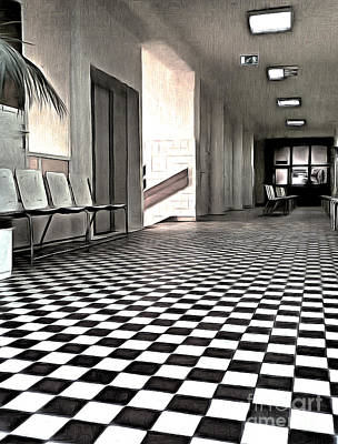 Painting - Corridor In A Quiet Medical Office by Odon Czintos
