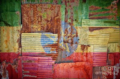Watercolor Typographic Countries - Corrugated Iron Ethiopia Flag by Antony McAulay