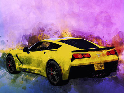 Digital Art - Corvette C7 Ubet Gotta Angel As Me Co-pilot by Chas Sinklier