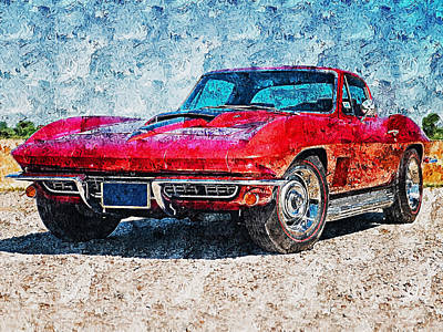 Painting - Corvette Stingray - 11 by Andrea Mazzocchetti