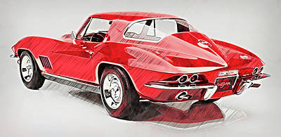 Painting - Corvette Stingray - 13 by Andrea Mazzocchetti