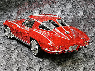 Painting - Corvette Stingray - 14 by Andrea Mazzocchetti