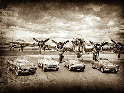 Photograph - Corvettes And B17 Bomber -0027cl2 by Jill Reger