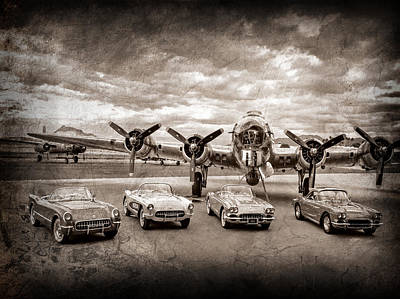 Photograph - Corvettes And B17 Bomber -0027s45 by Jill Reger