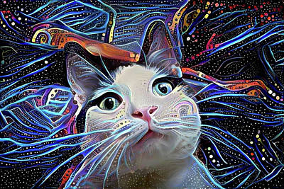 Digital Art - Cosmic Merlin The Wizard Cat by Peggy Collins