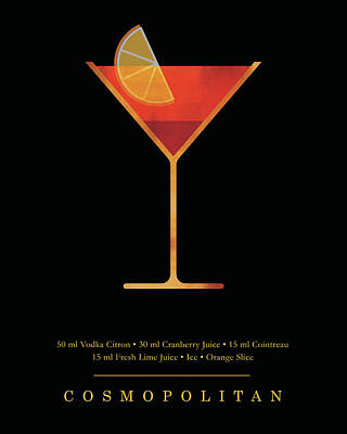Digital Art - Cosmopolitan Cocktail - Classic Cocktails Series - Black and Gold - Modern, Minimal Decor by Studio Grafiikka