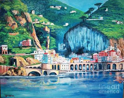 Painting - Costa Amalfitana, Italy by Jean Pierre Bergoeing