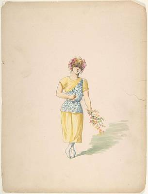 Colored Pencils - Costume for a Youth in Yellow and Blue Charles Bianchini French, Lyons 1860-1905 Paris by Charles Bianchini