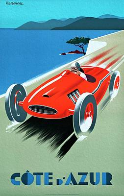 Painting - Cote D Azur, French Rivera Vintage Racing Poster by Unknown