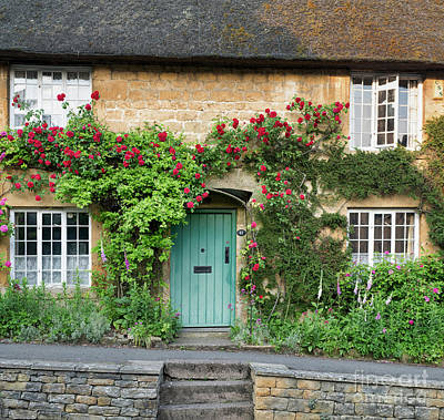 Photograph - Cotswold Cottage With Red Roses by Tim Gainey