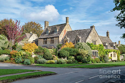 Photograph - Cotswold Stone House In Autumn by Tim Gainey