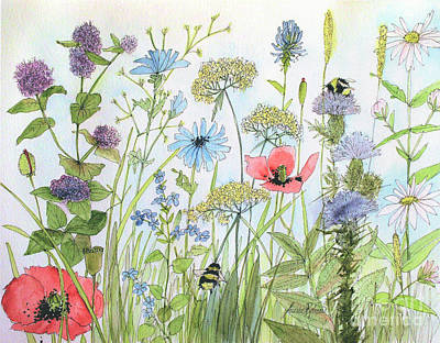 Painting - Cottage Flowers And Bees by Laurie Rohner