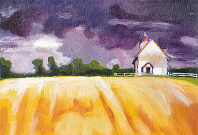 Painting - Cottage, Yellow Fields And Purple Sky by Tina Lewis