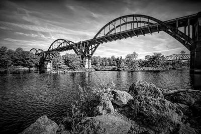 Vintage Presidential Portraits - Cotter Bridge Black and White by Judy Vincent
