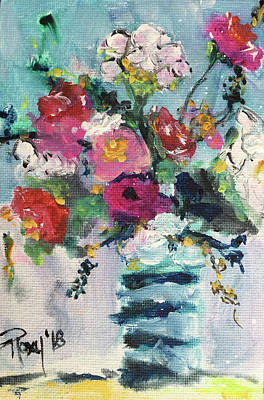 Contemporary Painting - Cotton And Roses by Roxy Rich