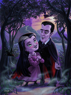 Digital Art - Count And Countess Dracula During Halloween Evening by Martin Davey