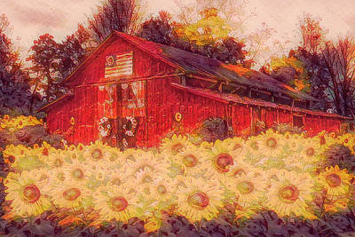 Photograph - Country Barn In Autumn Sunflowers Painting by Debra and Dave Vanderlaan
