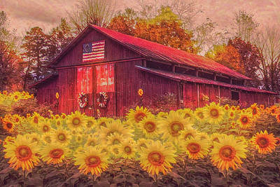 Photograph - Country Barn In Sunflowers In Watercolors by Debra and Dave Vanderlaan