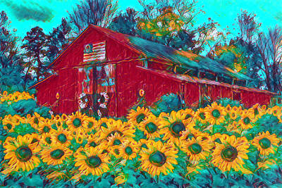 Photograph - Country Barn In Sunflowers Watercolor Painting by Debra and Dave Vanderlaan