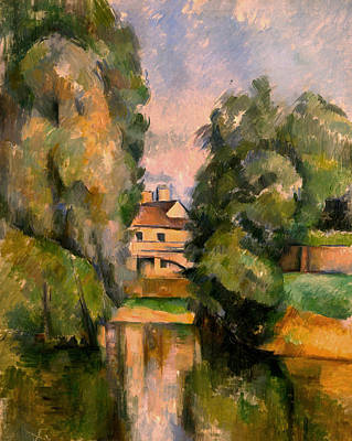 Post-impressionist Wall Art - Painting - Country House By A River, Around 1890 by Paul Cezanne