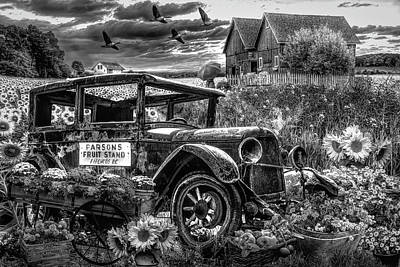Photograph - Country Market In Black And White by Debra and Dave Vanderlaan