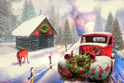 Digital Art - Country Mountain Christmas by Debra and Dave Vanderlaan