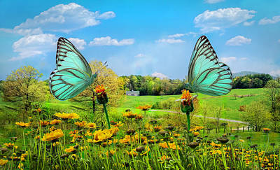 Photograph - Country Road In Butterflies by Debra and Dave Vanderlaan