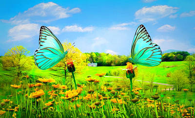Photograph - Country Roads In Butterflies Painting by Debra and Dave Vanderlaan