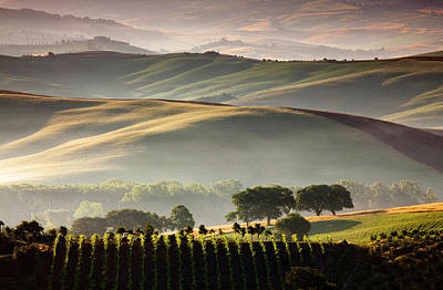 Photograph - Countryside At Dawn, Orcia Valley by Slow Images