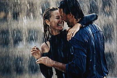 Couple Photograph - Couple Embracing In Pouring Rain by Bruce Ayres