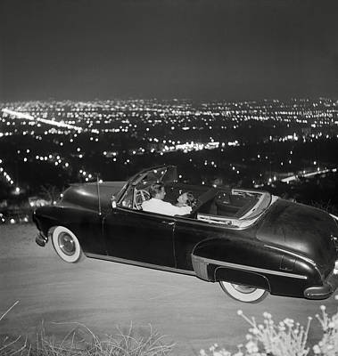 Couple Photograph - Couple In Convertible On Mulholland by Michael Ochs Archives