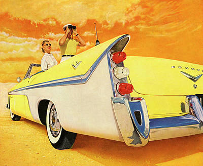People Digital Art - Couple In Yellow Convertible by Graphicaartis