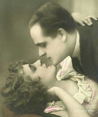 Photograph - Couple Kissing  by English School