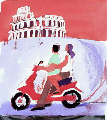 Digital Art - Couple Sightseeing On Motor Scooter by Julie Delton